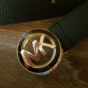 Michael kors leather and poly stretch belt